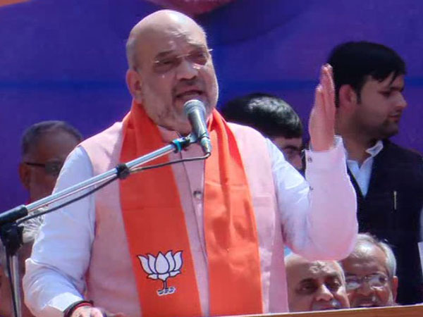 BJP president Amit Shah while addressing a rally at Naranpura area of Ahmedabad on Saturday. Photo/ANI