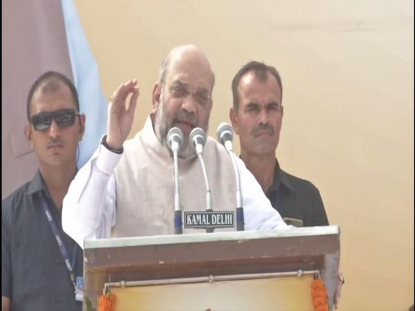 Amit Shah adresses Gandhi Sankalp Yatra in Shalimar Bagh in New Delhi on Wednesday [Photo/ANI]
