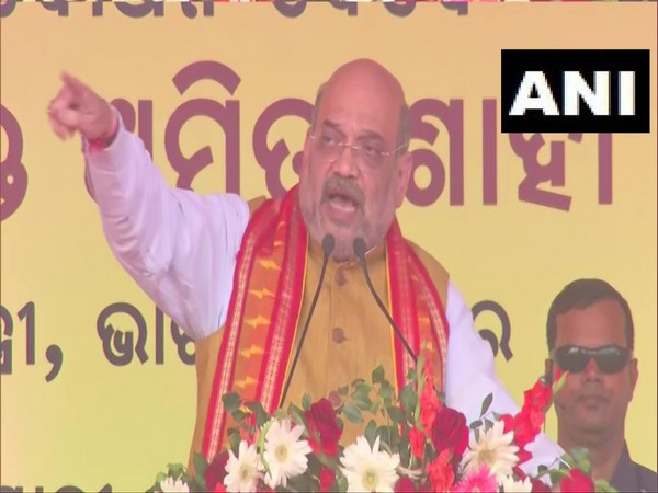 Union Home Minister Amit Shah speaking at the public event in Bhubaneswar on Friday. (ANI)