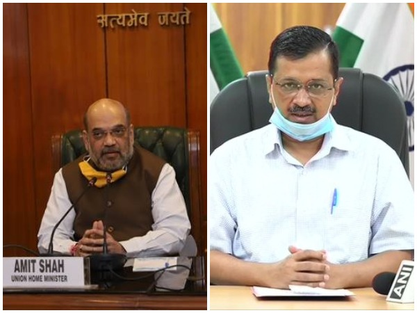 Union Home Minister Amit Shah (left) and Delhi CM Arvind Kejriwal (right)