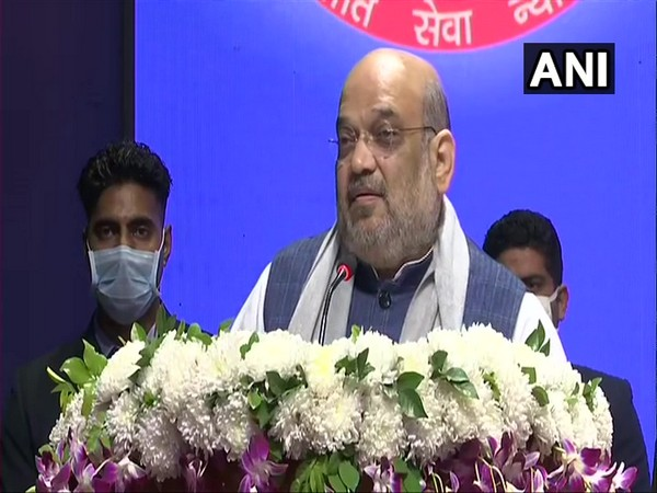 Union Home Minister Amit Shah speaking at Delhi Police headquarters on Tuesday.