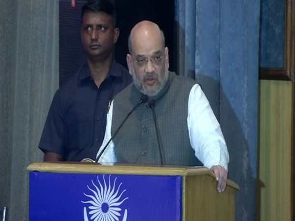 Union Home Minister Amit Shah during his address at 26th Foundation Day of NHRC in New Delhi on Saturday. Photo/ANI