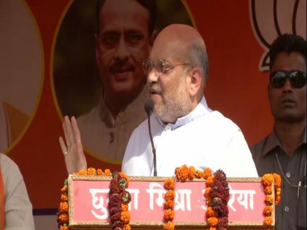 Amit Shah addressing a public rally in Auraiya, Uttar Pradesh. Photo/ANI