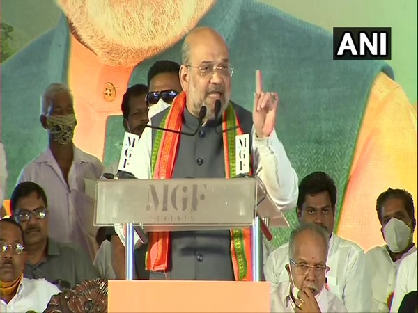 Union Home Minister Amit Shah addressing a public rally in Kerala. (Photo/ ANI)