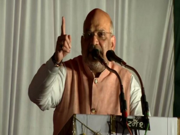 BJP chief Amit Shah while addressing an election rally at Chhatarpur in Madhya Pradesh on Tuesday. Photo/ANI