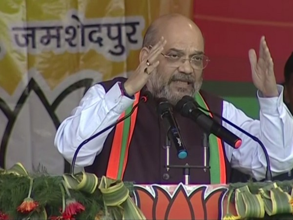 Union Home Minister Amit Shah addressing a public gathering in Jharkhand's Jamshedpur on Monday. Photo/ANI