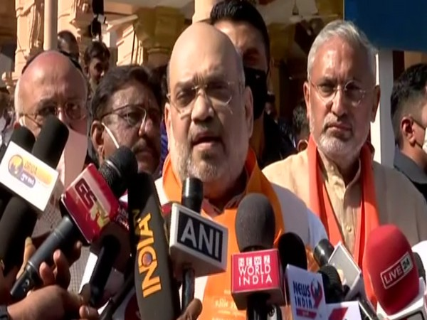 Union Home Minister Amit Shah along with his family members casts his vote at Naranpura Sub Zonal Office in Ahmedabad on Sunday.