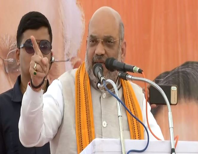 BJP chief Amit Shah while addressing an election rally at Rajnandgaon in Chhattisgarh on Friday. Photo/ANI