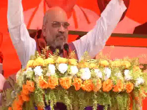 BJP president Amit Shah addressing an election rally in Begusarai, Bihar on Wednesday. Photo/ANI