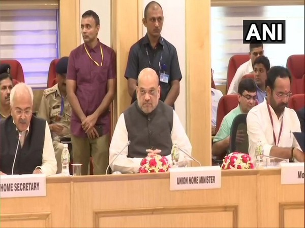 Union Home Minister Amit Shah at the meeting in New Delhi on Monday. Photo/ANI