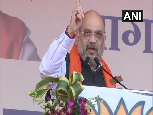 Union Home Minister Amit Shah speaking at a public meeting in Jabalpur, Madhya Pradesh, on Sunday. Photo/ANI