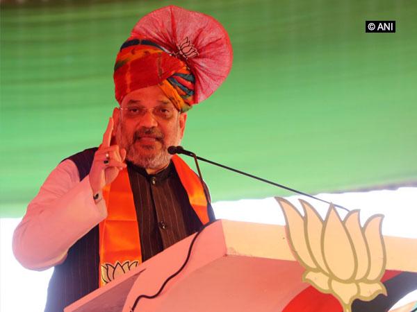 BJP president Amit Shah addressing an election rally in Panipat, Haryana on Sunday. (Photo/ANI)