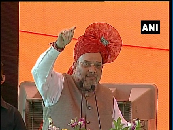 Amit Shah speaking at a rally in Haryana's Faridabad on Wednesday. Photo/ANI