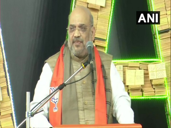Union Home Minister Amit Shah addressing an event at Vadodara in Gujarat on Saturday. (Photo/ANI)