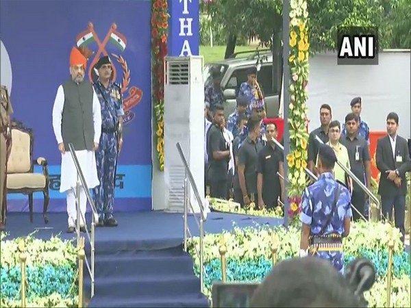 Union Home Minister Amit Shah at RAF's 27th Raising Day event in Ahmedabad on Monday. Photo/ANI