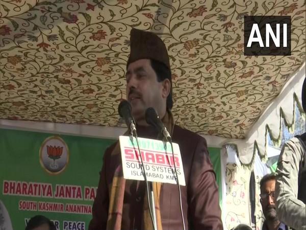 BJP leader Shahnawaz Hussain addressing a rally in J-K's Bijbehara on Thursday.
