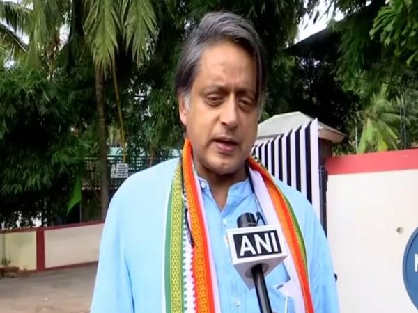 Congress leader Shashi Tharoor speaking to ANI on Sunday. Photo/ANI