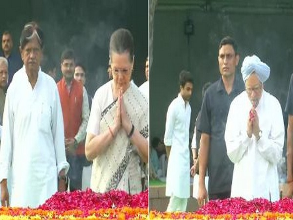 Anil Shastri (l), Congress interim president Sonia Gandhi (middle) and former Prime Minister Manmohan Singh at Vijay Ghat (Photo/ANI)
