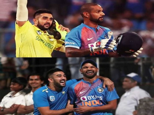 South Africa bowler Tabraiz Shamsi with India batsman Shikhar Dhawan (Photo/ Tabraiz Shamsi Twitter)