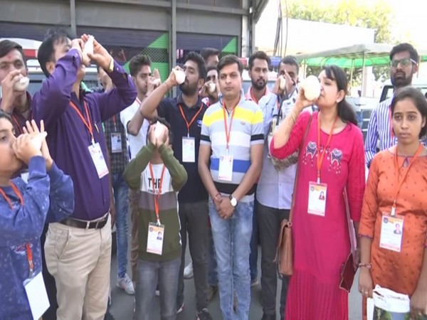 A group of 19 people will play the conch, which is known as 'Sankhnaad' in Hindu mythology, as soon as the US President arrives at Ahmedabad airport. Photo/ANI