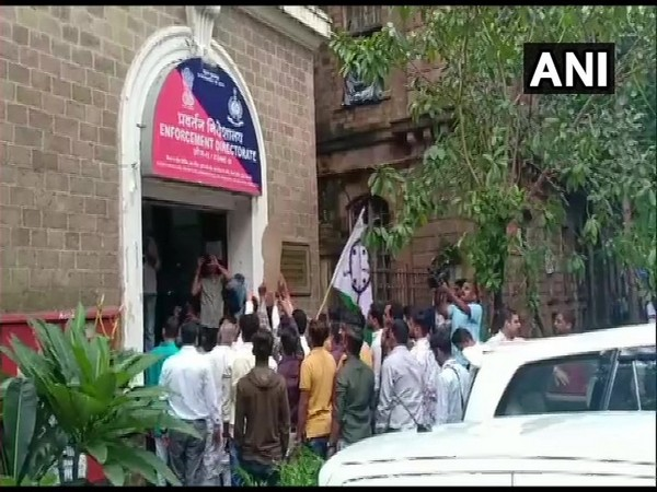 NCP workers protest outside ED office. (Photo/ANI)