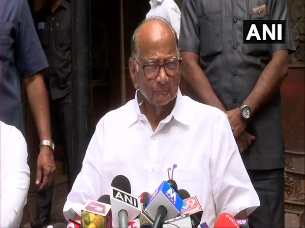 NCP chief Sharad Pawar speaking to media persons in Mumbai on Monday.