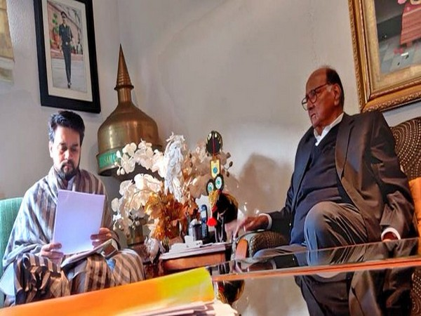 NCP Chief Sharad Pawar met Minister of State for Finance and Corporate Affairs,  Anurag Thakur on Monday. ( Picture Courtesy: Sharad Pawar's Twitter handle)
