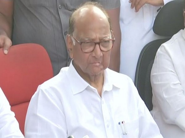 NCP chief Sharad Pawar speaking to reporters in Mumbai on Tuesday. Photo/ANI