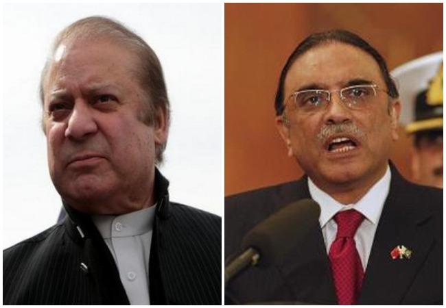 Former Pakistan Prime Minister Nawaz Sharif (L) and former President Asif Ali Zardari (R)