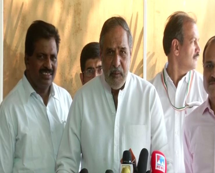 Congress leader Anand Sharma speaking to reporters in New Delhi on Thursday. Photo/ANI
