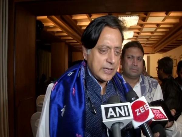 Congress leader Shashi Tharoor speaking to reporters in Kolkata on Saturday. Photo/ANI