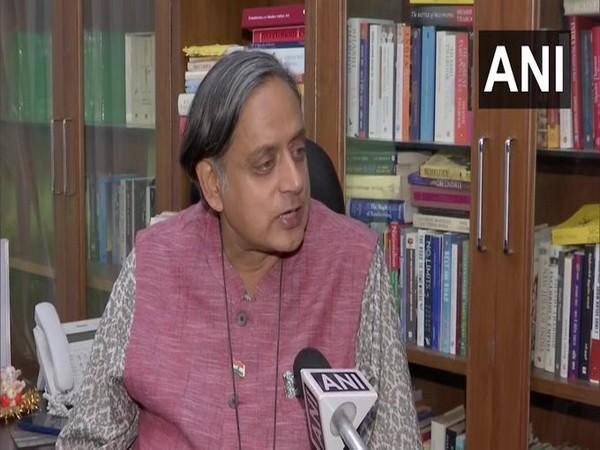 Congress MP Shashi Tharoor while speaking with ANI on Sunday.