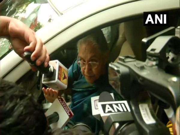 Delhi Congress chief Sheila Dikshit while speaking to media persons in New Delhi on Wednesday. Photo/ANI
