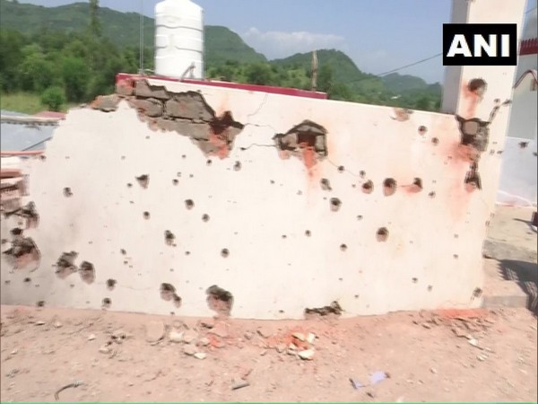 Visual of the shelling affected structures in Nowshera sector of Rajouri district on Sunday. Photo/ANI