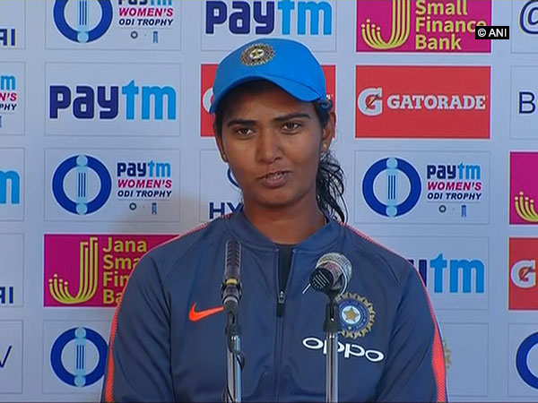Indian pace bowler Shikha Pandey while addressing a post match press conference in Mumbai (ANI Photo)