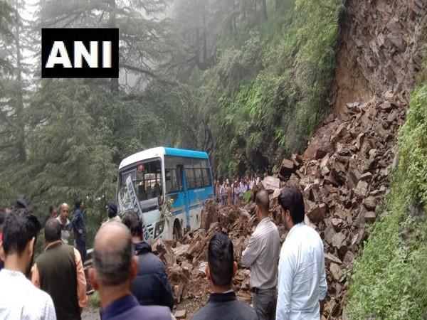 Landslide near Hassan Valley in Shimla district of Himachal Pradesh on Monday. Photo/ANI
