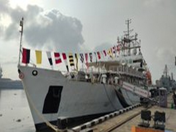 Naval and Coast Guard ships dressed with signaling flags in Kochi on Independence Day on Saturday. Photo/Twitter/Defence PRO for Kerala