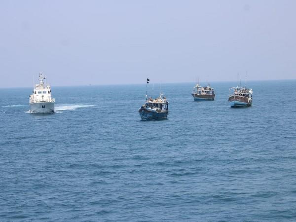 Indian Coast Guard Ship Varaha seizes three Sri Lankan fishing boat for carrying narcotics onboard.