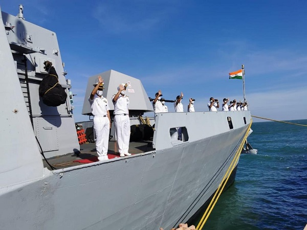 Indian Navy departs from Sihanoukville Port in Combodia (Photo credit: Twitter/India in Cambodia)