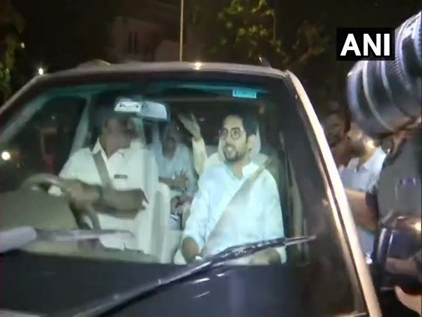 Shiv Sena leaders Aaditya Thackeray, Uddhav Thackeray and Sanjay Raut leaving NCP chief Sharad Pawar's residence on Friday. Photo/ANI