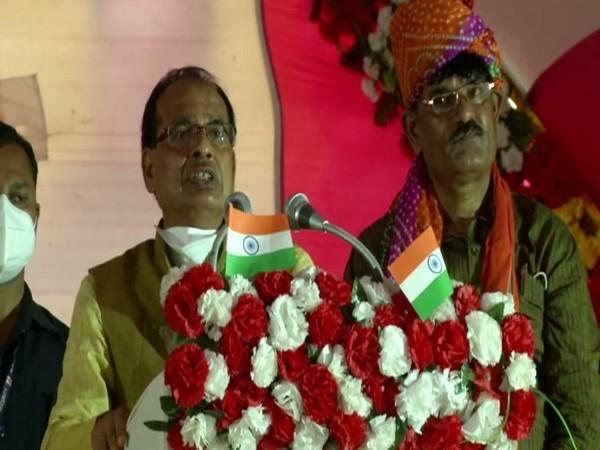 Madhya Pradesh Chief Minister Shivraj Singh Chouhan during a public rally in Bhind on Monday.