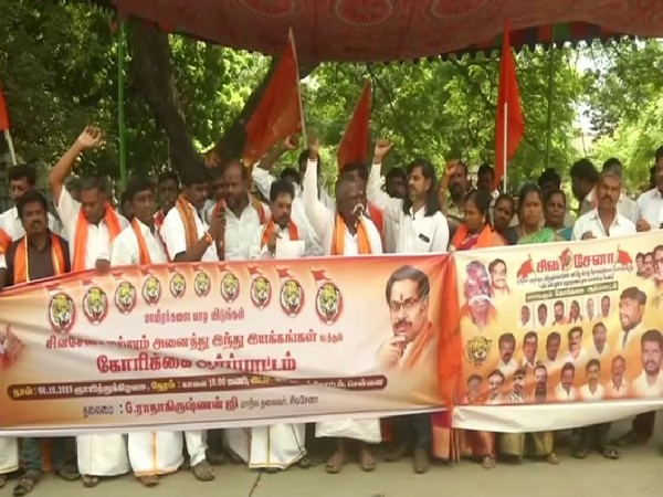 Shiv Sena's Tamil Nadu unit held a protest in Chennai on Sunday in support of Hindi. Photo/ANI