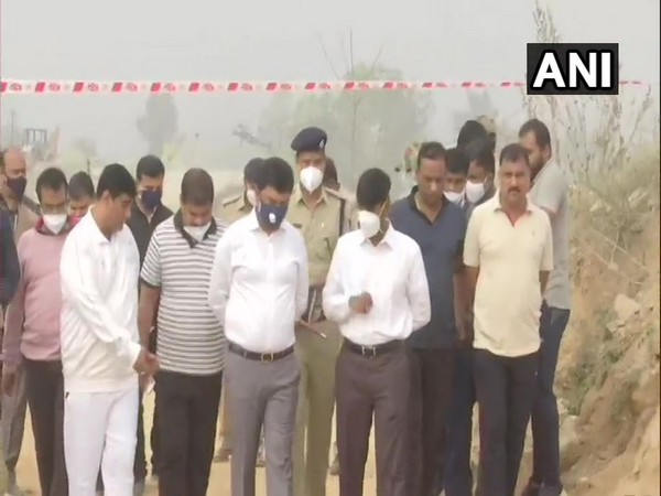 Police and officials inspected the blast site in Hunasodu village in Shivamogga on Friday.