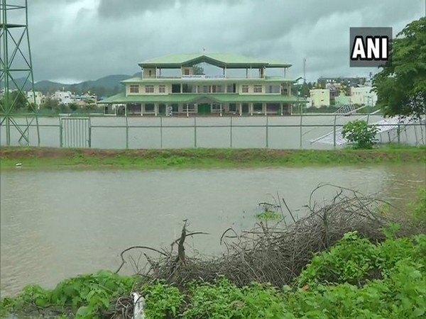 Visual from the flooded KSCA Navule Stadium on Saturday. Photo/ANI