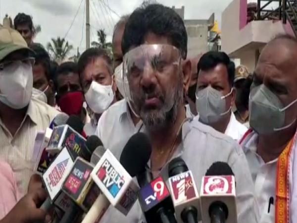 Karnataka Congress chief DK Shivakumar speaking to media in Chamarajanagar. (Photo/ANI)