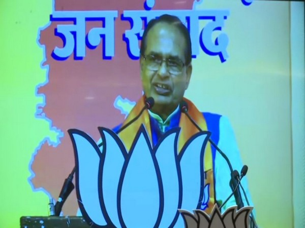 Madhya Pradesh Chief Minister Shivraj Singh Chouhan speaking at the Chhattisgarh Jan Samvad programme on Sunday. Photo/ANI