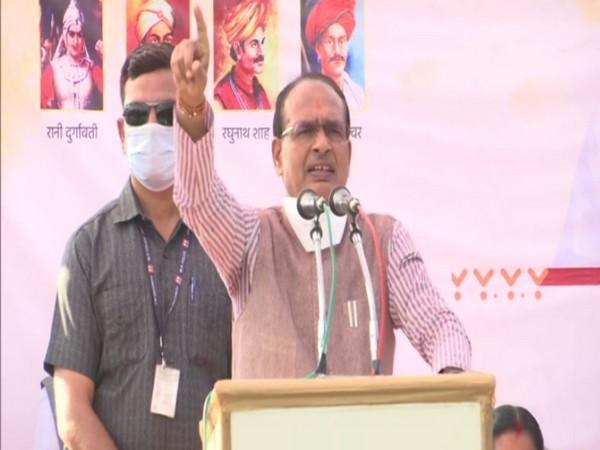 Madhya Pradesh Chief Minister Shivraj Singh at a public rally in Umaria on Wednesday.(Photo/ ANI)
