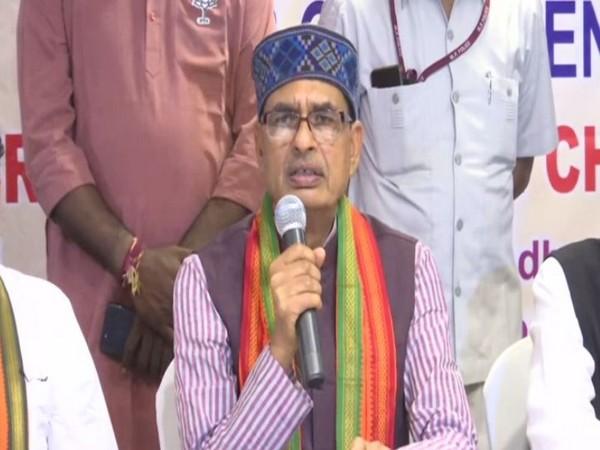 Former Madhya Pradesh Chief Minister Shivraj Singh Chouhan while speaking at a press conference in Vijayawada, Andhra Pradesh on Sunday. (Photo/ANI)