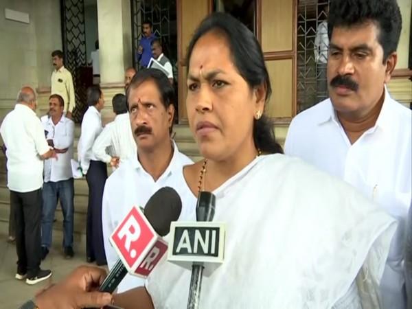 BJP MP Shobha Karandlaje talking to reporters on Thursday. Photo/ANI