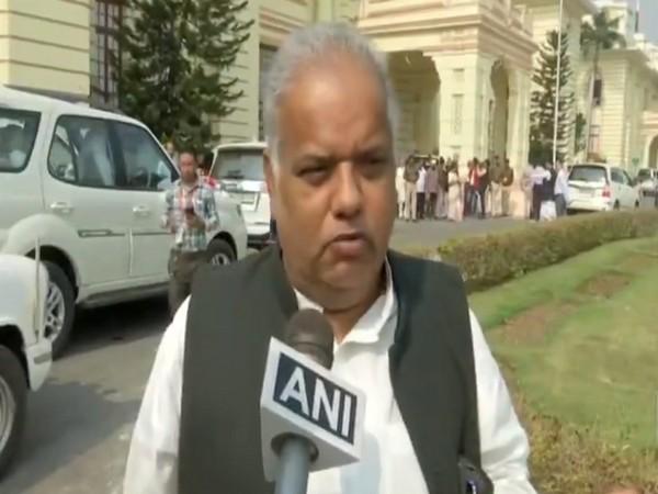 Bihar Minister Shrawan Kumar talking to ANI on Friday. Photo/ANI